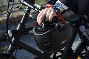 biking to work in suit
