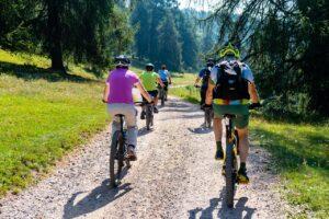 electric mountain bikes on the trail
